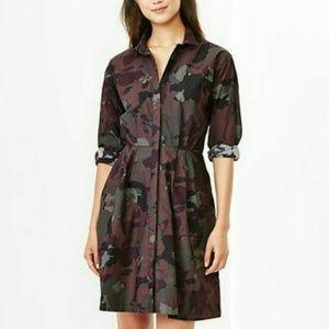 GAP Plum Camo Fit & Flare Skirt Dress Pockets Sz 0